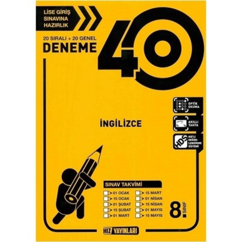 8. Sınıf LGS İngilizce 40 Deneme Hız Yayınları