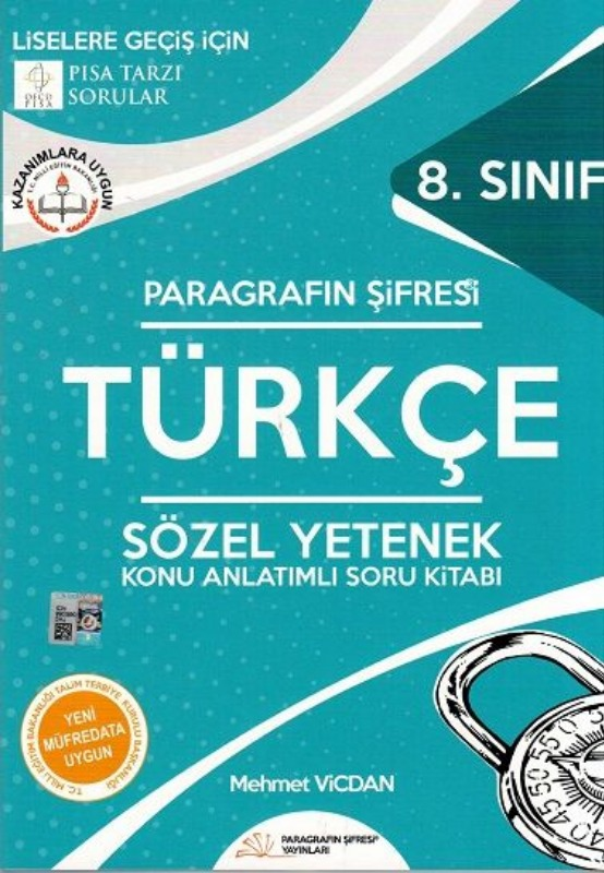Paragrafın Şifresi 8. Sınıf Türkçe Sözel Yetenek Konu Anlatımlı Soru Kitabı