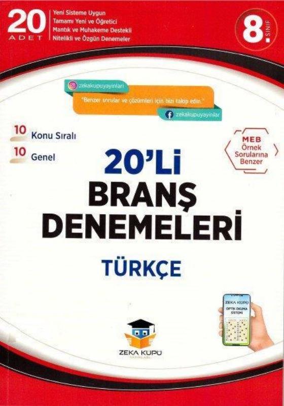 8.Sınıf Türkçe 20li Branş Denemeleri Zeka Küpü Yayınları