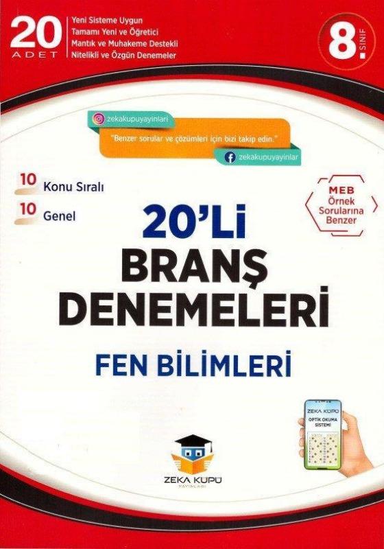 8.Sınıf Fen Bilimleri 20li Branş Denemeleri Zeka Küpü Yayınları