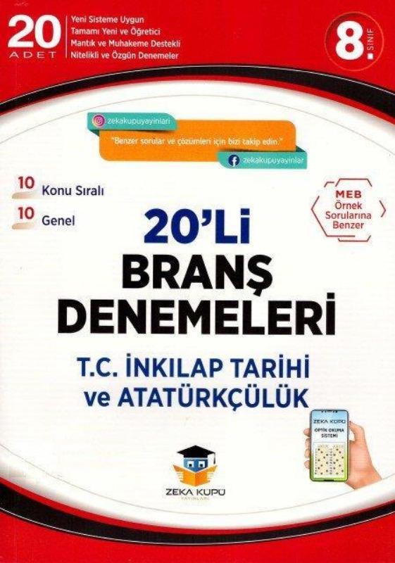 8.Sınıf T.C İnk Tarihi ve At. 20li Branş Denemeleri Zeka Küpü Yayınları