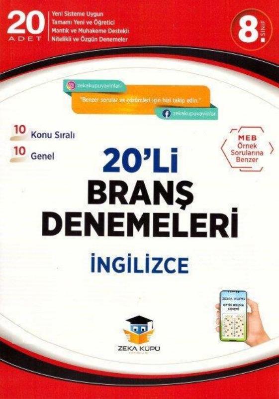 8.Sınıf İngilizce 20li Branş Denemeleri Zeka Küpü Yayınları