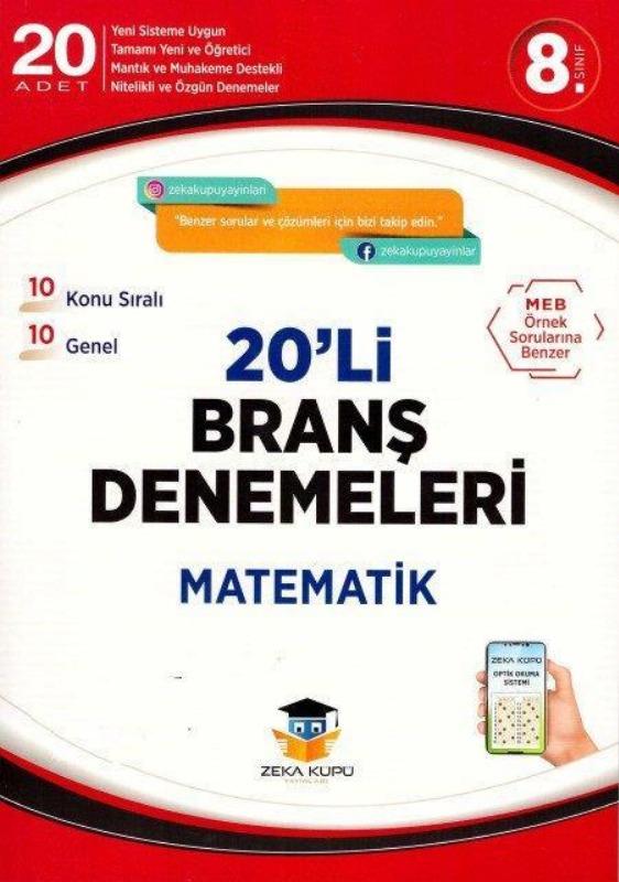 8.Sınıf Matematik 20li Branş Denemeleri Zeka Küpü Yayınları