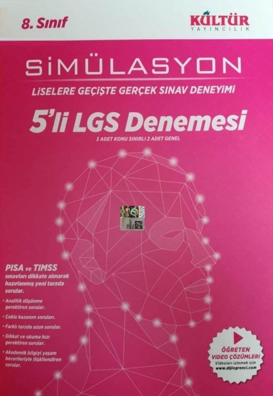 Kültür Yayınları 8.Sınıf LGS Çözümlü 5li Deneme Seti