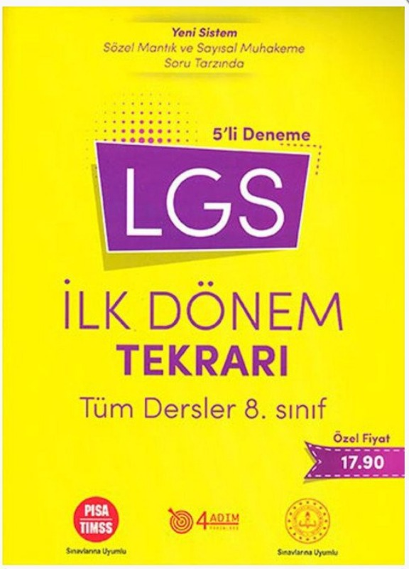 4 Adım Yayıncılık 8. Sınıf LGS İlk Dönem Tekrarı Tüm Dersler 5 li Deneme