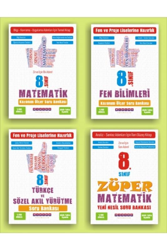 Ploton Yayınları Lgs Züper Fen Türkçe Matematik  4 Set