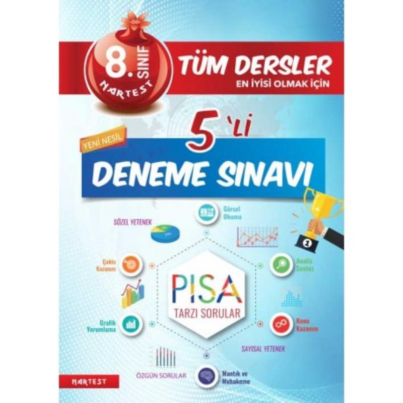 8. Sınıf Nar Tüm Dersler 5'Li Deneme Sınavı Nartest Yayınları