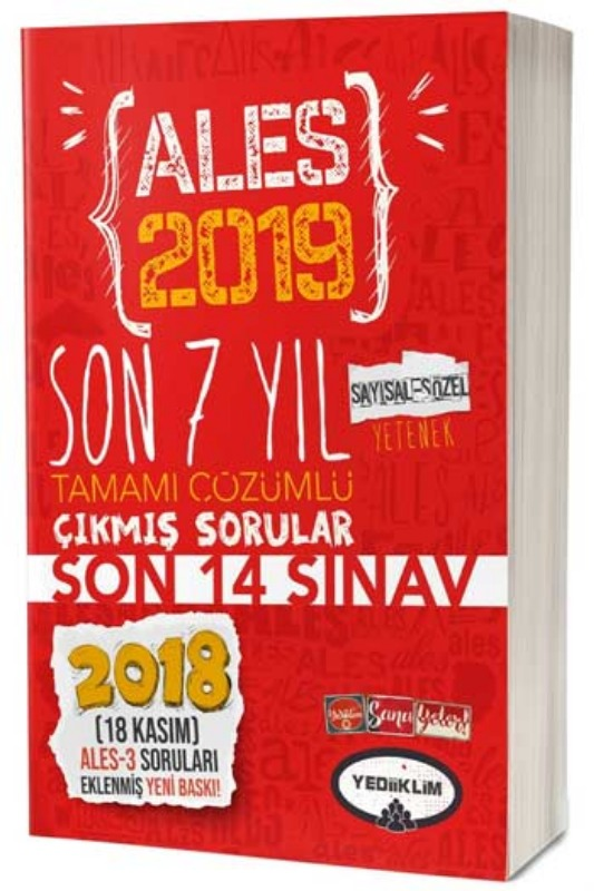 Yediiklim Yayınları 2019 ALES Son 7 Yıl Tamamı Çözümlü Çıkmış Sorular