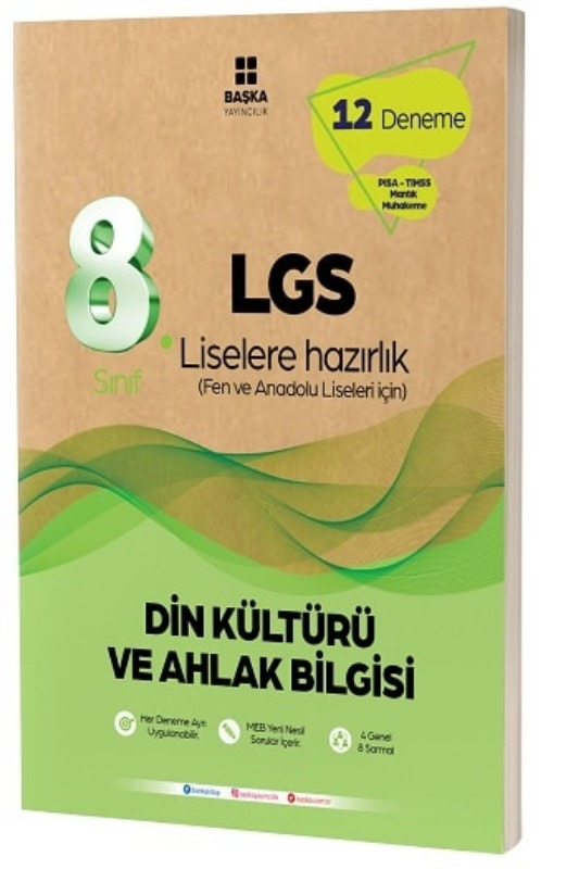 Başka Yayıncılık 8. Sınıf LGS Din Kültürü ve Ahlak Bilgisi 12 li Deneme