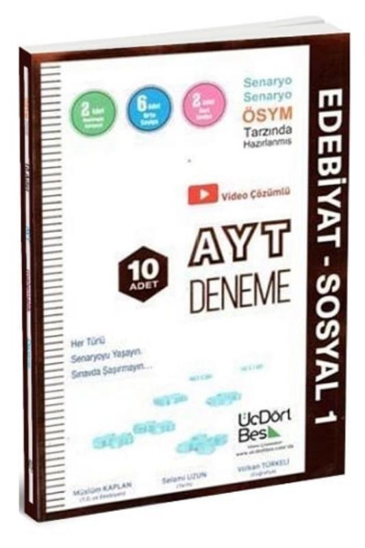 ÜçDörtBeş Yayınları AYT Edebiyat Sosyal1 10 Deneme