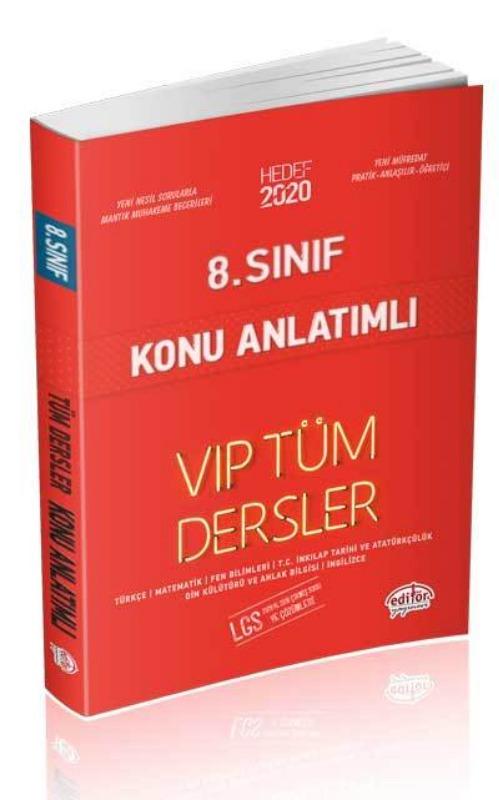 8. Sınıf VIP Tüm Dersler Konu Anlatımlı Editör Yayınları