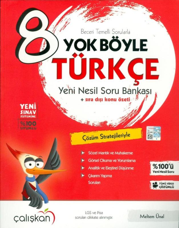 8.Sınıf LGS Yok Böyle Türkçe Yeni Nesil Soru Bankası Çalışkan Yayınları
