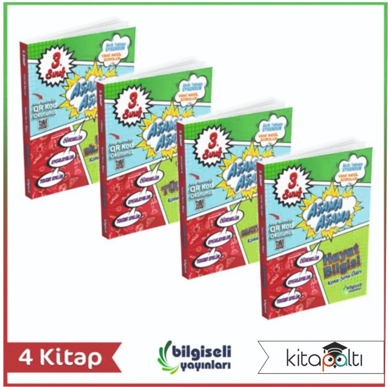 Bilgiseli 3. Sınıf Aşama Aşama Tüm Dersler Set (4 Kitap ) Bilgiseli Yayınları