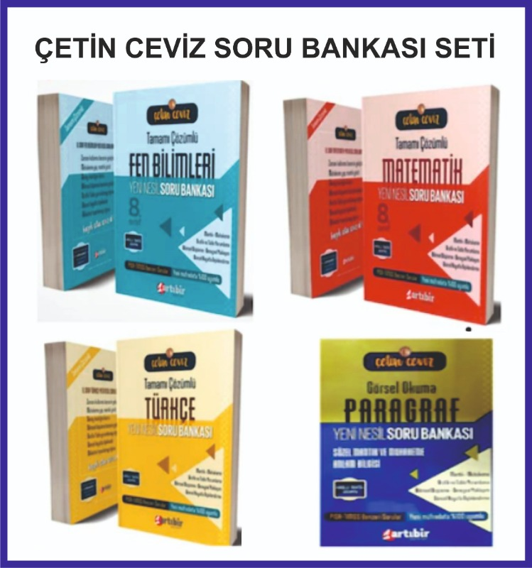 Artıbir Yayınlar Çetin Ceviz 8. Sınıf Soru Bankası Seti - 4 Kitap