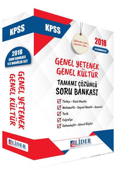 Lider Yayinlari 2018 KPSS Genel Yetenek Genel Kültür Tamami Çözümlü Soru Bankasi Seti