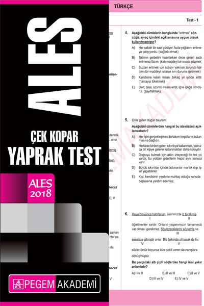 Pegem Yayinlari 2018 ALES Çek Kopar Yaprak Test