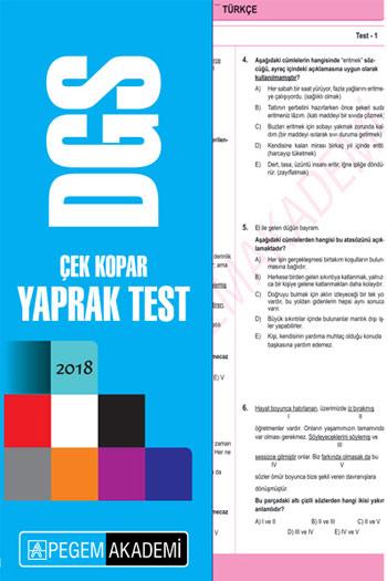 Pegem Yayinlari 2018 DGS Çek Kopar Yaprak Test