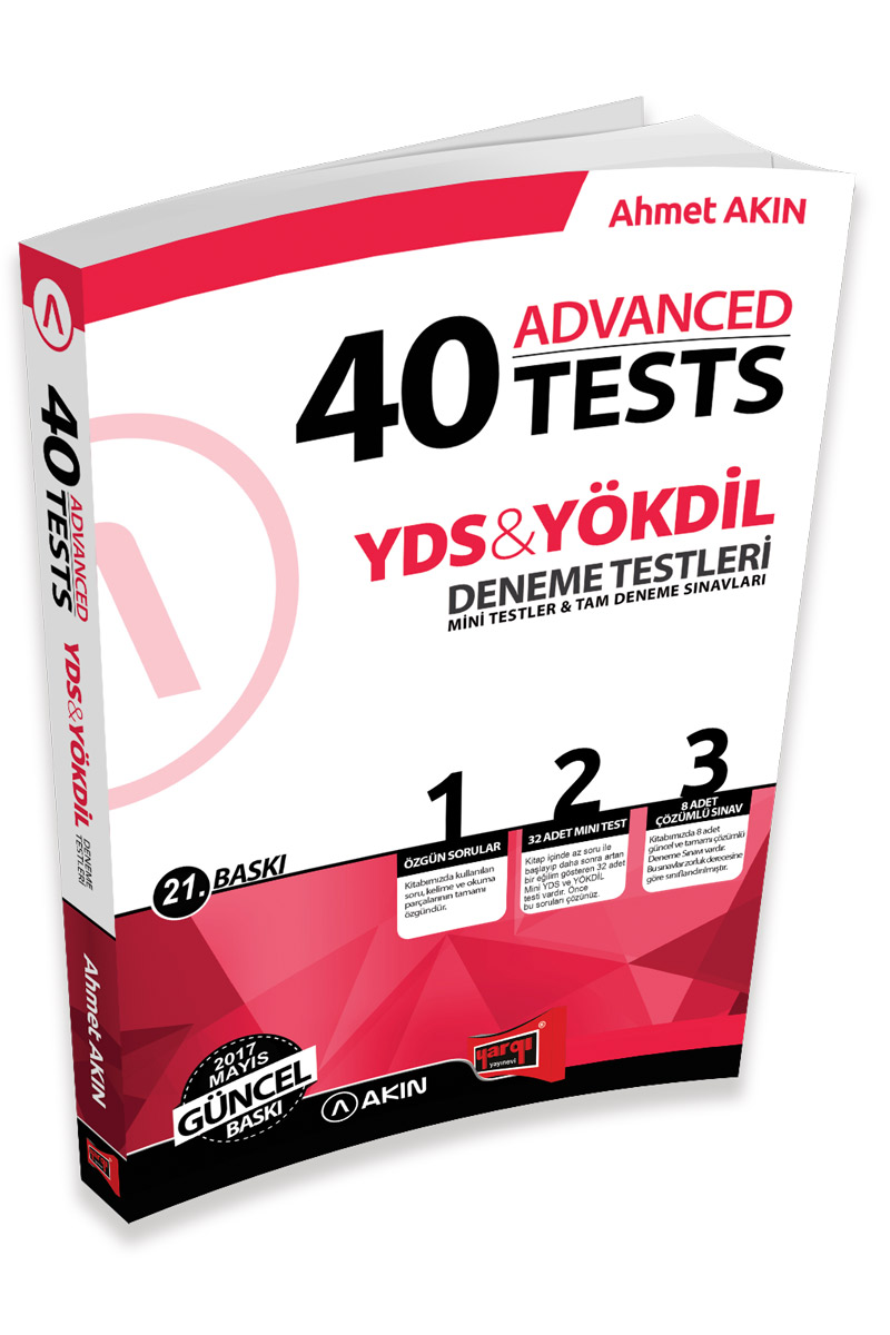 Akin Dil & Yargi Yayinlari 2017 YDS & YÖKDIL 40 Advanced Tests 21. Baski